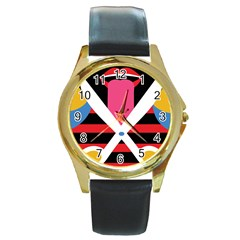 Scissors Tongue Round Gold Metal Watch