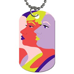 Three Beautiful Face Dog Tag (One Side)