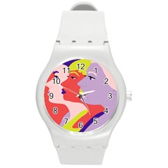 Three Beautiful Face Round Plastic Sport Watch (M)