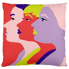 Three Beautiful Face Large Flano Cushion Case (Two Sides)