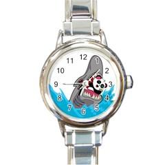 Panda Sharke Blue Sea Round Italian Charm Watch
