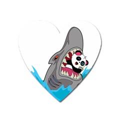 Panda Sharke Blue Sea Heart Magnet