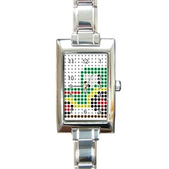 Tractor Perler Bead Rectangle Italian Charm Watch