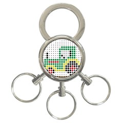 Tractor Perler Bead 3-Ring Key Chains