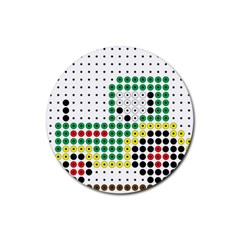 Tractor Perler Bead Rubber Round Coaster (4 pack)