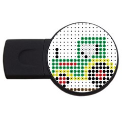Tractor Perler Bead USB Flash Drive Round (4 GB)