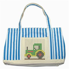 Tractor Perler Bead Striped Blue Tote Bag