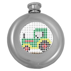 Tractor Perler Bead Round Hip Flask (5 oz)