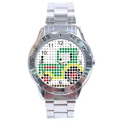 Tractor Perler Bead Stainless Steel Analogue Watch