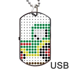 Tractor Perler Bead Dog Tag USB Flash (One Side)