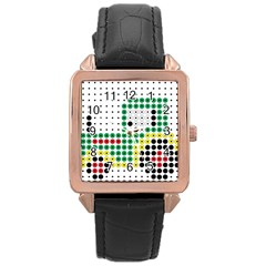 Tractor Perler Bead Rose Gold Leather Watch