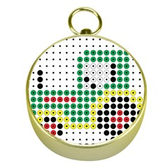 Tractor Perler Bead Gold Compasses
