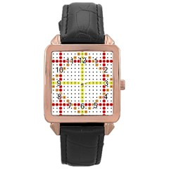 Vertical Horizontal Rose Gold Leather Watch