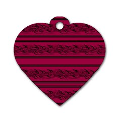 Red barbwire pattern Dog Tag Heart (One Side)