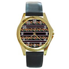 Colorful barbwire Round Gold Metal Watch