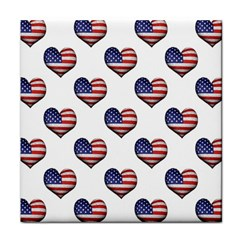 Usa Grunge Heart Shaped Flag Pattern Tile Coasters