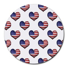 Usa Grunge Heart Shaped Flag Pattern Round Mousepads