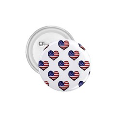 Usa Grunge Heart Shaped Flag Pattern 1.75  Buttons