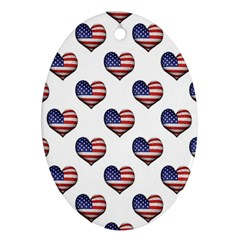 Usa Grunge Heart Shaped Flag Pattern Ornament (Oval)
