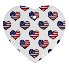 Usa Grunge Heart Shaped Flag Pattern Ornament (Heart)