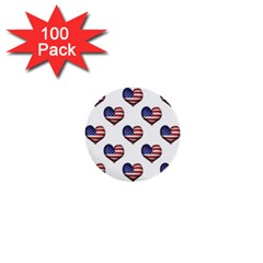 Usa Grunge Heart Shaped Flag Pattern 1  Mini Buttons (100 pack)