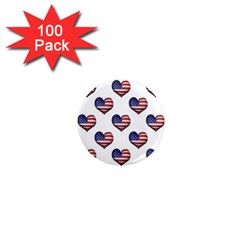 Usa Grunge Heart Shaped Flag Pattern 1  Mini Magnets (100 pack)