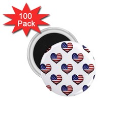Usa Grunge Heart Shaped Flag Pattern 1.75  Magnets (100 pack)