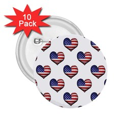 Usa Grunge Heart Shaped Flag Pattern 2.25  Buttons (10 pack)
