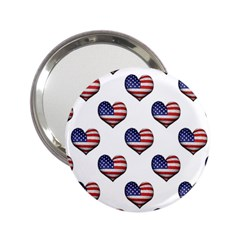 Usa Grunge Heart Shaped Flag Pattern 2.25  Handbag Mirrors