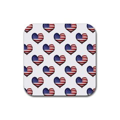 Usa Grunge Heart Shaped Flag Pattern Rubber Square Coaster (4 pack)