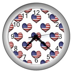 Usa Grunge Heart Shaped Flag Pattern Wall Clocks (Silver)