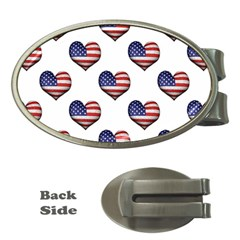 Usa Grunge Heart Shaped Flag Pattern Money Clips (Oval)