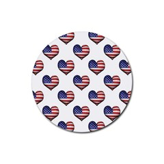 Usa Grunge Heart Shaped Flag Pattern Rubber Round Coaster (4 pack)