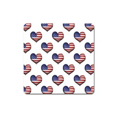 Usa Grunge Heart Shaped Flag Pattern Square Magnet