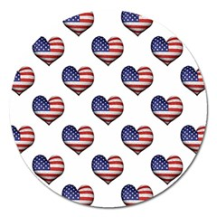 Usa Grunge Heart Shaped Flag Pattern Magnet 5  (Round)