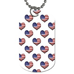 Usa Grunge Heart Shaped Flag Pattern Dog Tag (One Side)