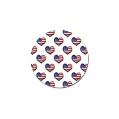 Usa Grunge Heart Shaped Flag Pattern Golf Ball Marker