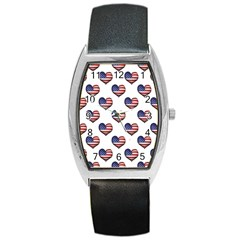 Usa Grunge Heart Shaped Flag Pattern Barrel Style Metal Watch