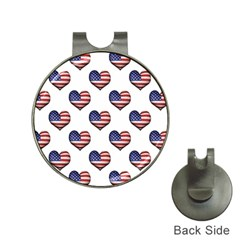 Usa Grunge Heart Shaped Flag Pattern Hat Clips with Golf Markers