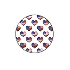 Usa Grunge Heart Shaped Flag Pattern Hat Clip Ball Marker (4 pack)