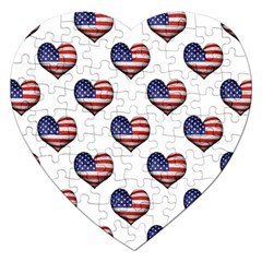 Usa Grunge Heart Shaped Flag Pattern Jigsaw Puzzle (Heart)