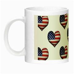 Usa Grunge Heart Shaped Flag Pattern Night Luminous Mugs