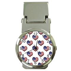 Usa Grunge Heart Shaped Flag Pattern Money Clip Watches