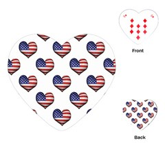 Usa Grunge Heart Shaped Flag Pattern Playing Cards (Heart)
