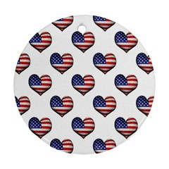 Usa Grunge Heart Shaped Flag Pattern Round Ornament (Two Sides)