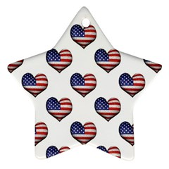 Usa Grunge Heart Shaped Flag Pattern Star Ornament (Two Sides)