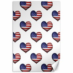 Usa Grunge Heart Shaped Flag Pattern Canvas 24  x 36
