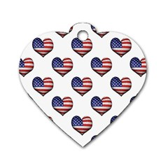 Usa Grunge Heart Shaped Flag Pattern Dog Tag Heart (Two Sides)