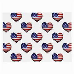 Usa Grunge Heart Shaped Flag Pattern Large Glasses Cloth (2-Side)