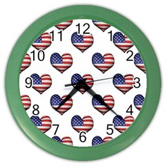 Usa Grunge Heart Shaped Flag Pattern Color Wall Clocks